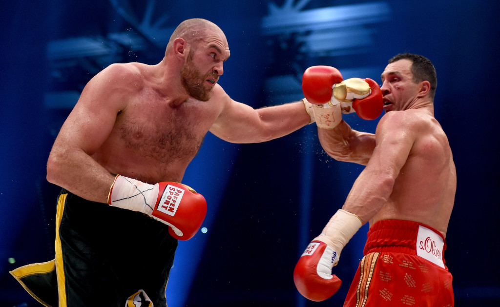 Tyson Fury in action with Wladimir Klitschko in November 2015.
