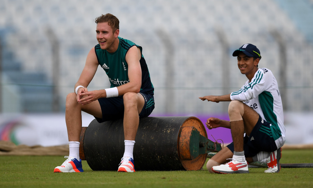 CHITTAGONG, BANGLADESH - OCTOBER 13: Stuart Broad and Haseeb Hameed of England during a nets session at Zohur Ahmed Chowdhury Stadium on October 13, 2016 in Chittagong, Bangladesh. (Photo by Gareth Copley/Getty Images,)