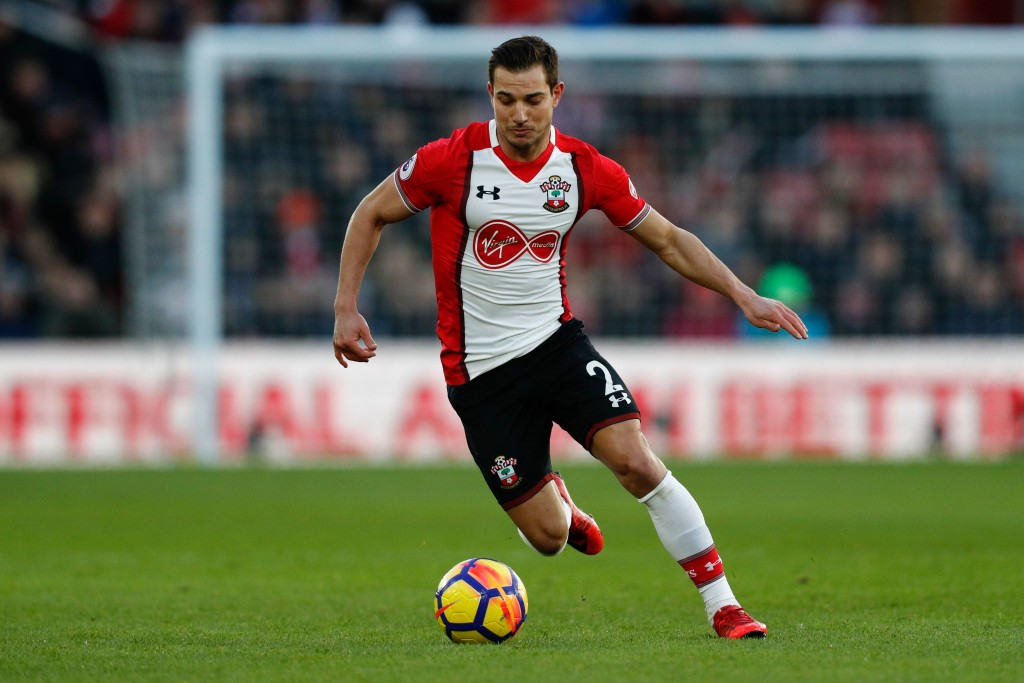 Southampton's German-born Portuguese defender Cedric Soares runs with the ball during the English Premier League football match between Southampton and Liverpool at St Mary's Stadium in Southampton, southern England on February 11, 2018. / AFP PHOTO / Adrian DENNIS / RESTRICTED TO EDITORIAL USE. No use with unauthorized audio, video, data, fixture lists, club/league logos or 'live' services. Online in-match use limited to 75 images, no video emulation. No use in betting, games or single club/league/player publications. / (Photo credit should read ADRIAN DENNIS/AFP/Getty Images)