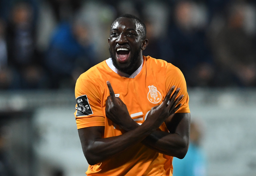 TOPSHOT - Porto's Malian forward Moussa Marega celebrates after scoring during the Portuguese league football match between Portimonense SC and FC Porto at the Estadio Municipal de Portimao in Portimao on February 25, 2018. / AFP PHOTO / Francisco LEONG (Photo credit should read FRANCISCO LEONG/AFP/Getty Images)