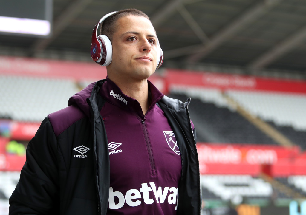 SWANSEA WALES- MARCH 03 Javier Hernandez of West Ham United arrives prior to the Premier League match between Swansea City and West Ham United at Liberty Stadium