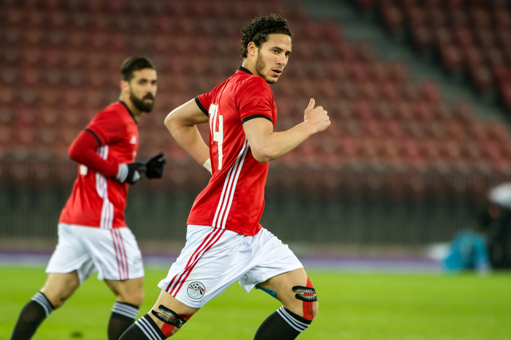 ZURICH, SWITZERLAND - MARCH 27: #14 Ramadan Sobhi of Egypt in action during the International Friendly between Egypt and Greece at the Letzigrund Stadium on March 27, 2018 in Zurich, Switzerland. (Photo by Robert Hradil/Getty Images)