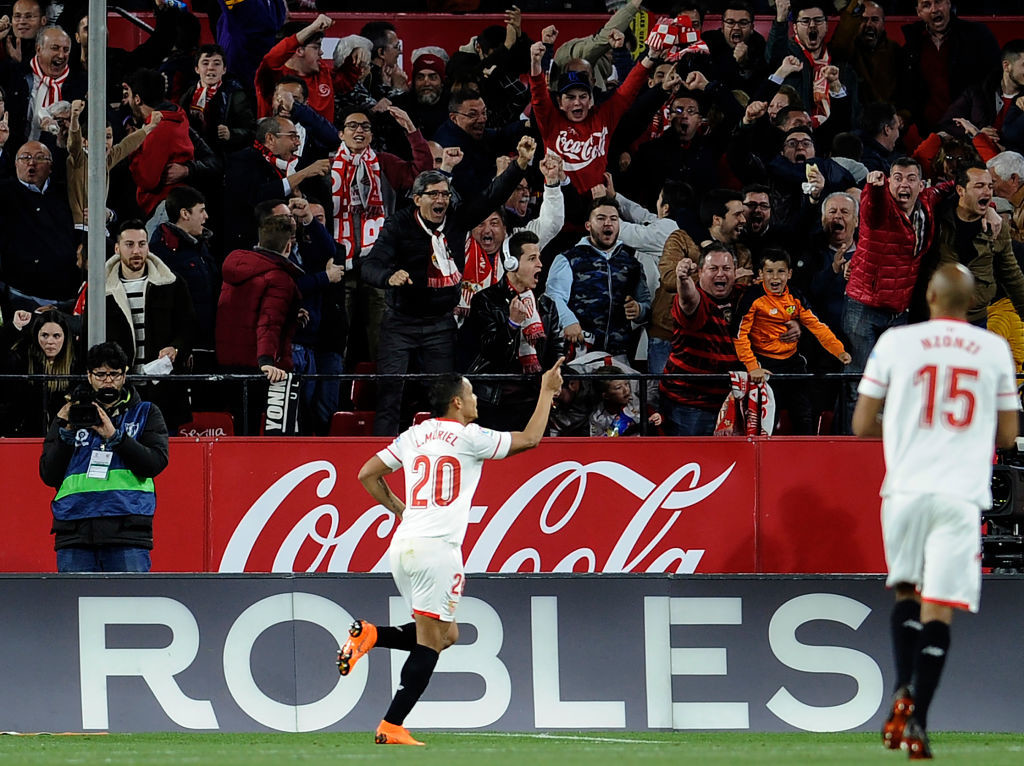 Luis Muriel celebrates scoring against Barcelona in March