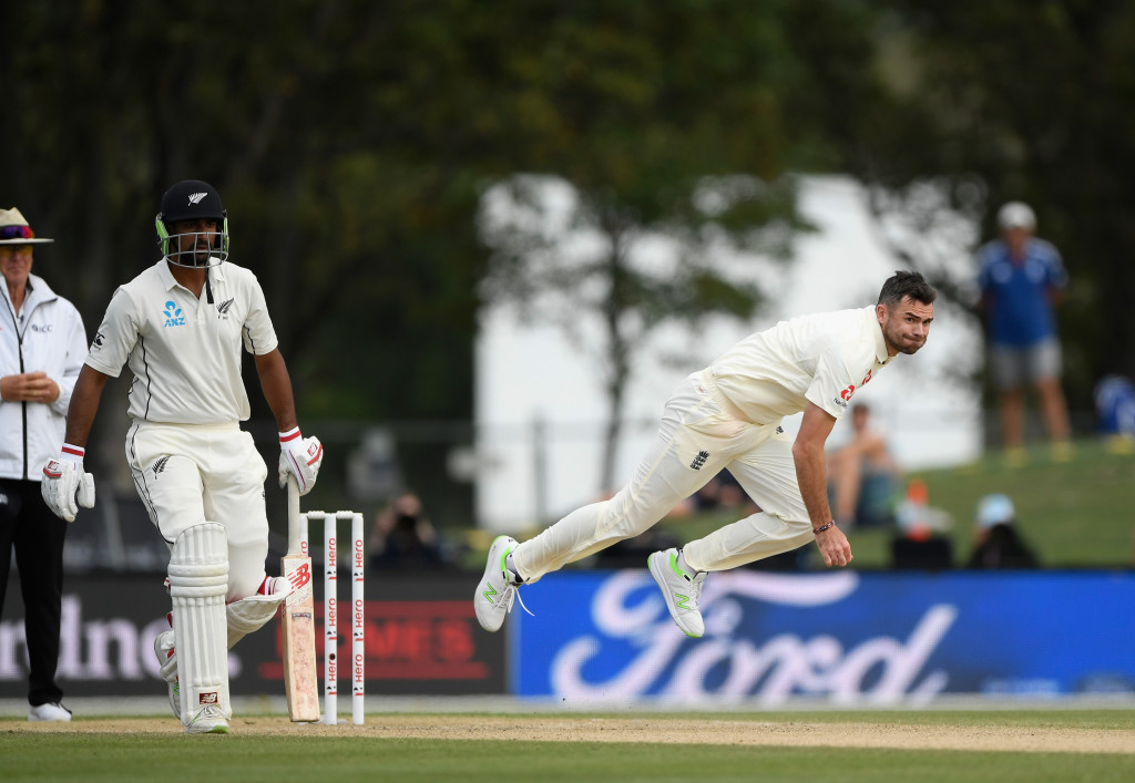 CHRISTCHURCH, NEW ZEALAND - APRIL 03: England bowler James Anderson in action during day five of the Second Test Match between the New Zealand Black Caps and England at Hagley Oval on April 3, 2018 in Christchurch, New Zealand. (Photo by Stu Forster/Getty Images)