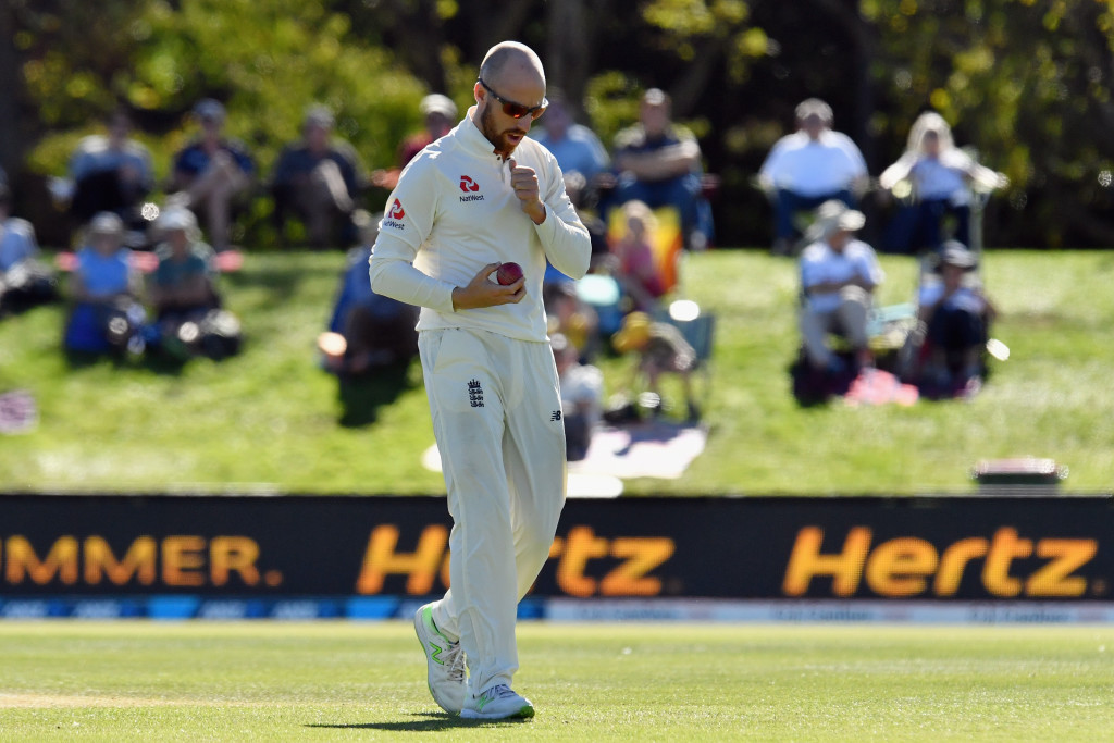 CHRISTCHURCH, NEW ZEALAND - APRIL 03: Jack Leach of England looks on during day five of the Second Test match between New Zealand and England at Hagley Oval on April 3, 2018 in Christchurch, New Zealand. (Photo by Kai Schwoerer/Getty Images)
