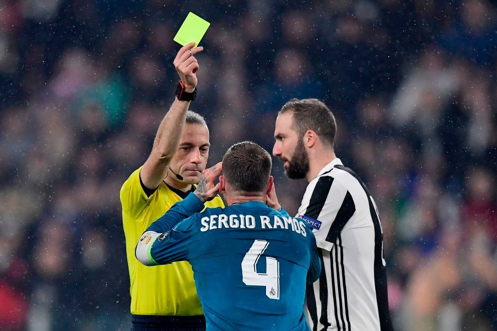 Sergio Ramos is booked in the first-leg