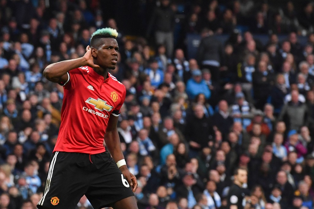 Paul Pogba celebrates against Manchester City