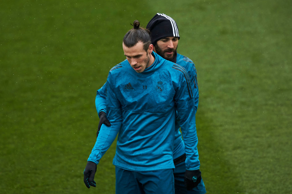 Karim Benzema and Gareth Bale in training for the second leg