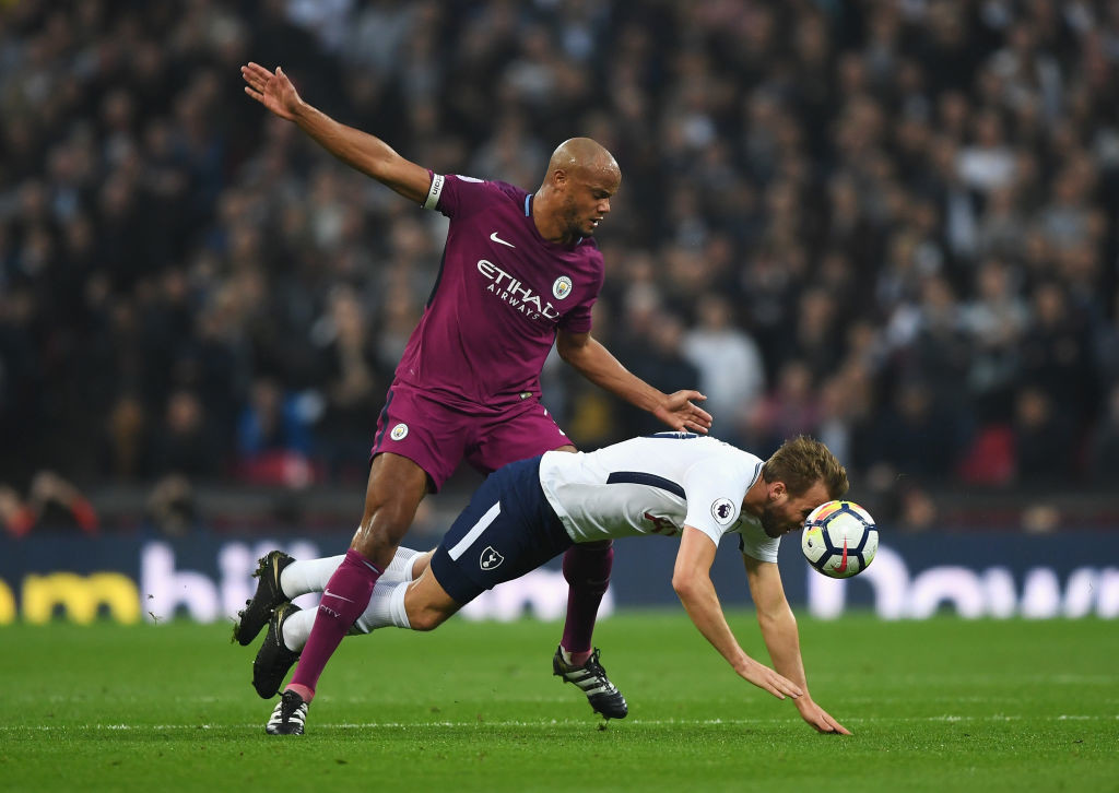 Harry Kane was kept on a short leash by Vincent Kompany.