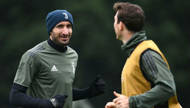 Giorgio Chiellini attends a training session.