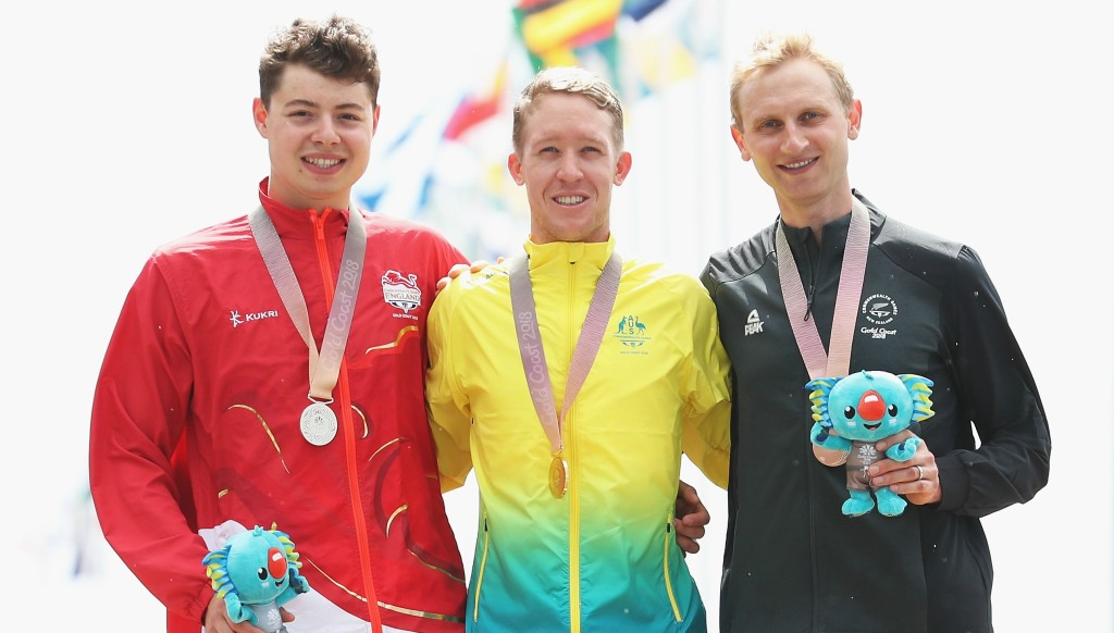 Hamish Bond (r) with Australia's gold medalist Cameron Meyer (c) and England's silver medalist Harry Tanfield.