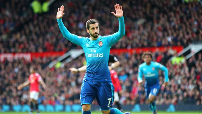 Henrikh Mkhitaryan of Arsenal celebrates a goal.