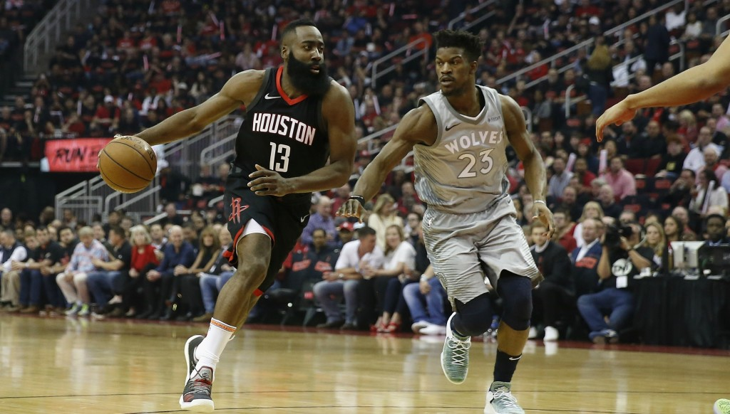 James Harden scored 13 points in the final quarter as the Houston Rockets beat the Minnesota Timberwolves 104-101.