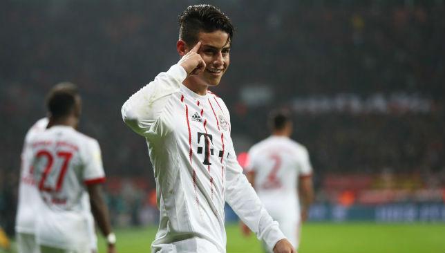 James Rodriguez celebrates scoring a goal.
