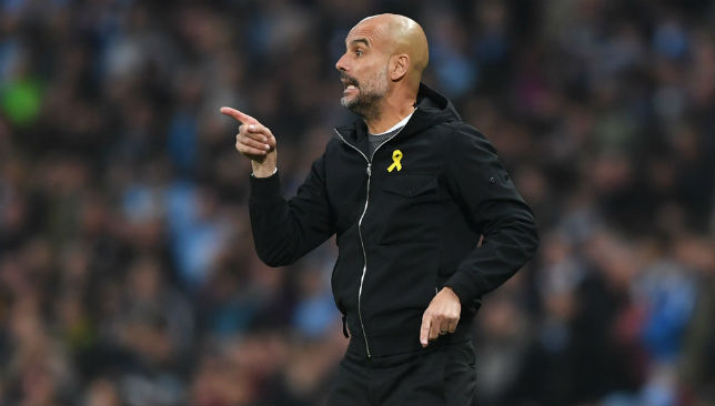 Pep Guardiola marshalling his troops.
