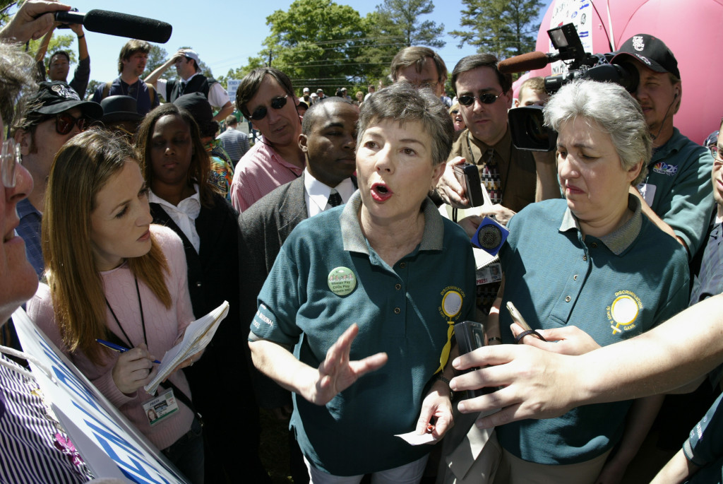 Martha Burk, Chairwoman of the National Council of Women's Organizations, talks with the media during Masters week in 2003