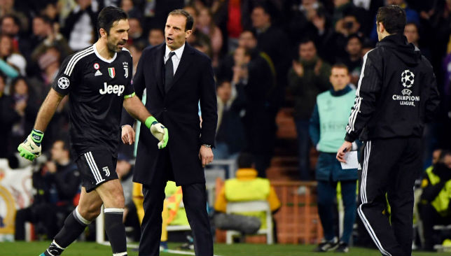 Juventus' Gianluigi Buffon stands by reaction on Michael Oliver's penalty decision