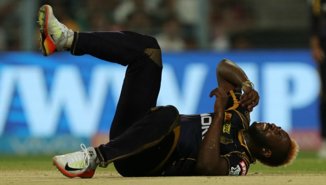 Andre Russell injured his right leg on Saturday. Image: BCCI.