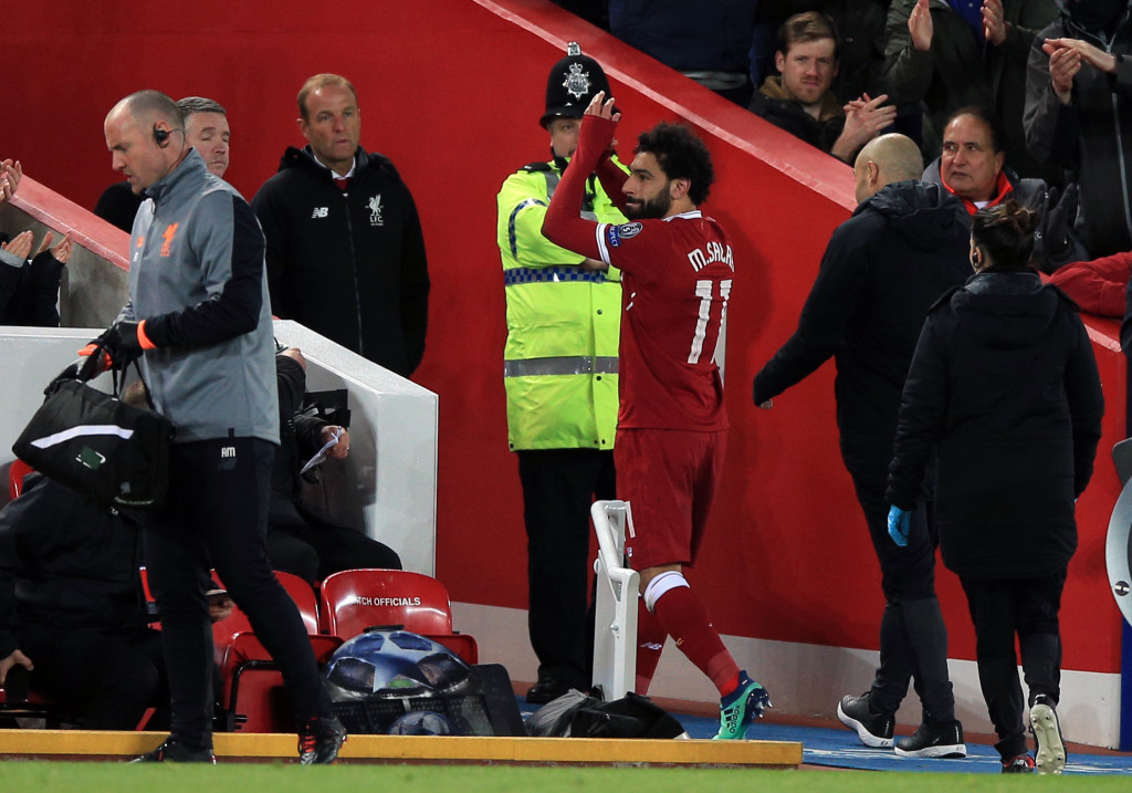Liverpool's Mohamed Salah is substituted after suffering a groin injury