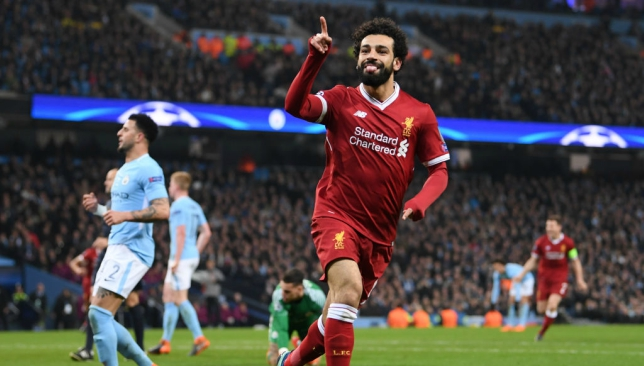 Mohamed Salah celebrates the crucial goal in the Champions League second leg that set Liverpool on their way to the semi-finals.