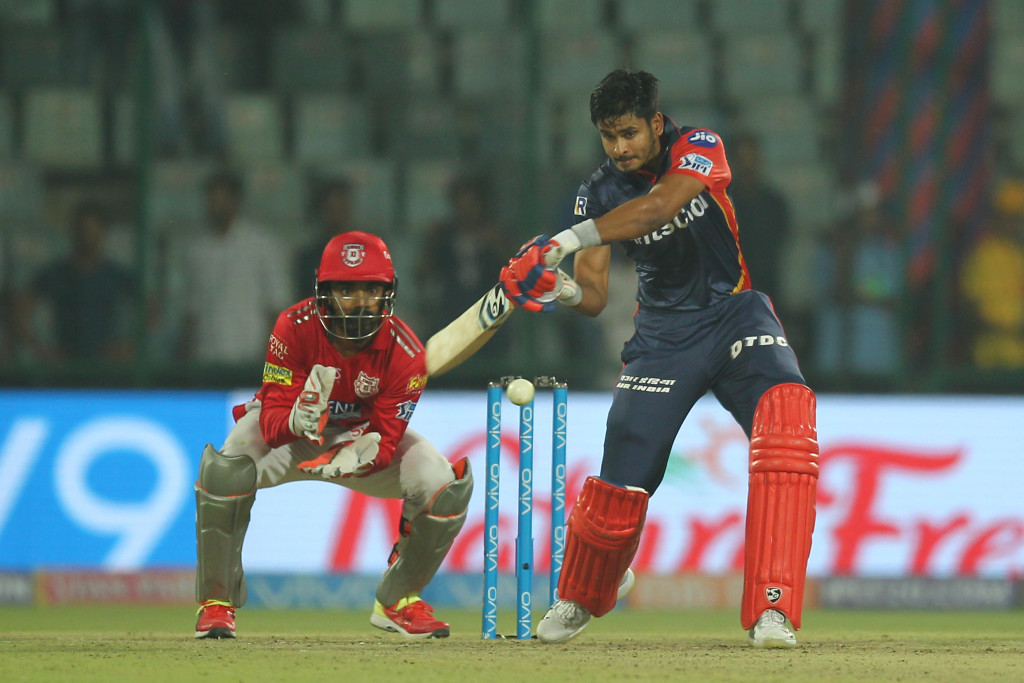 Shreyas Iyer of the Delhi Daredevils bats during match twenty two of the Vivo Indian Premier League 2018 (IPL 2018) between the Delhi Daredevils and the Kings XI Punjab held at the Feroz Shah Kotla Ground, Delhi on the 23rd April 2018. Photo by: Deepak Malik/ SPORTZPICS for BCCI