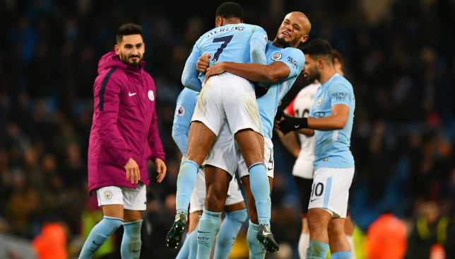 Sterling of Manchester City celebrates victory
