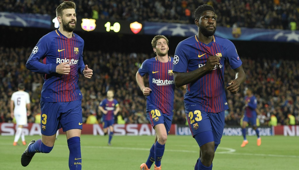 Samuel Umtiti displaying just how much the Barca jersey means to him.