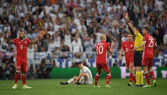 Vidal red card