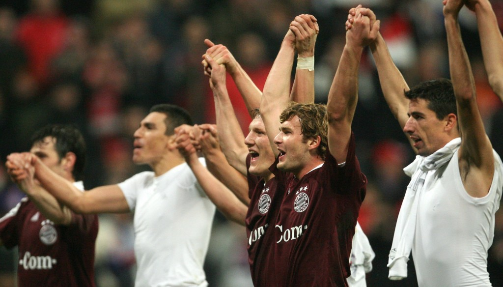 Celebrating: Munich players celebrate going through to the next round
