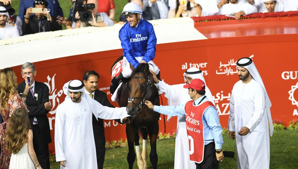 His Highness Sheikh Mohammed bin Rashid Al Maktoum, His Highness Sheikh Hamdan Bin Mohammad Al Maktoum and members of the Royal family with Thunder Snow at the 2018 Dubai World Cup trophy presentation. (Credit: Dubai Racing Club.)
