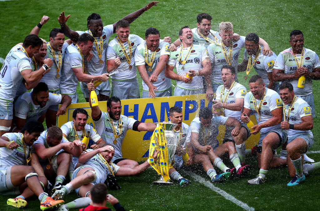 Saracens celebrate after beating Exeter Chiefs in last season's Premiership final.