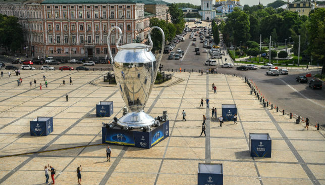 A giant replica of the UEFA Champions league trophy