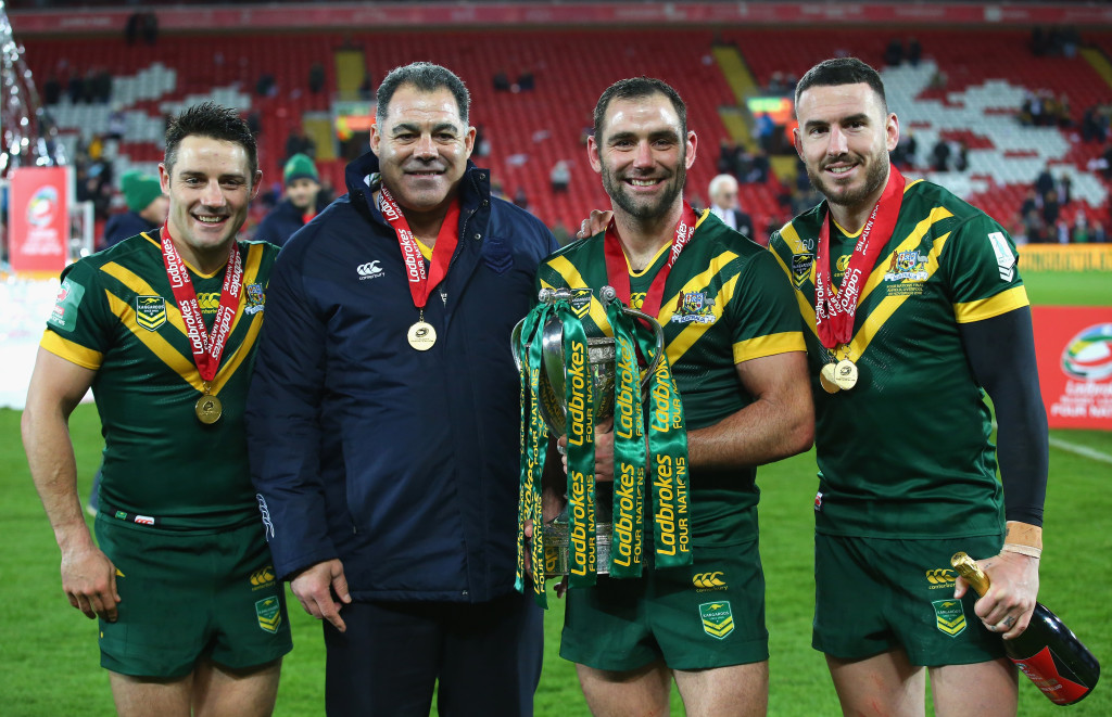 Playing for Australia: (L to R) Cooper Cronk, Mal Meninga, Cameron Smith and Darius Boyd.