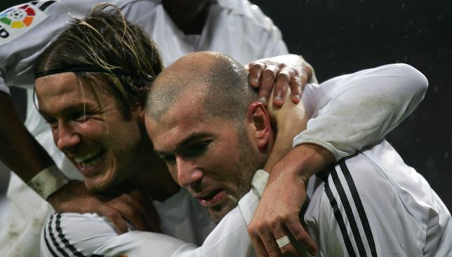 Icons: David Beckham and Zinedine Zidane (right)