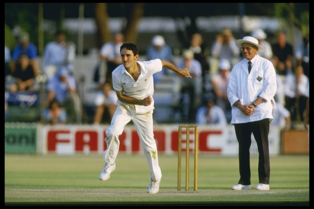 John Traicos of Zimbabwe bowls during the historic Test.