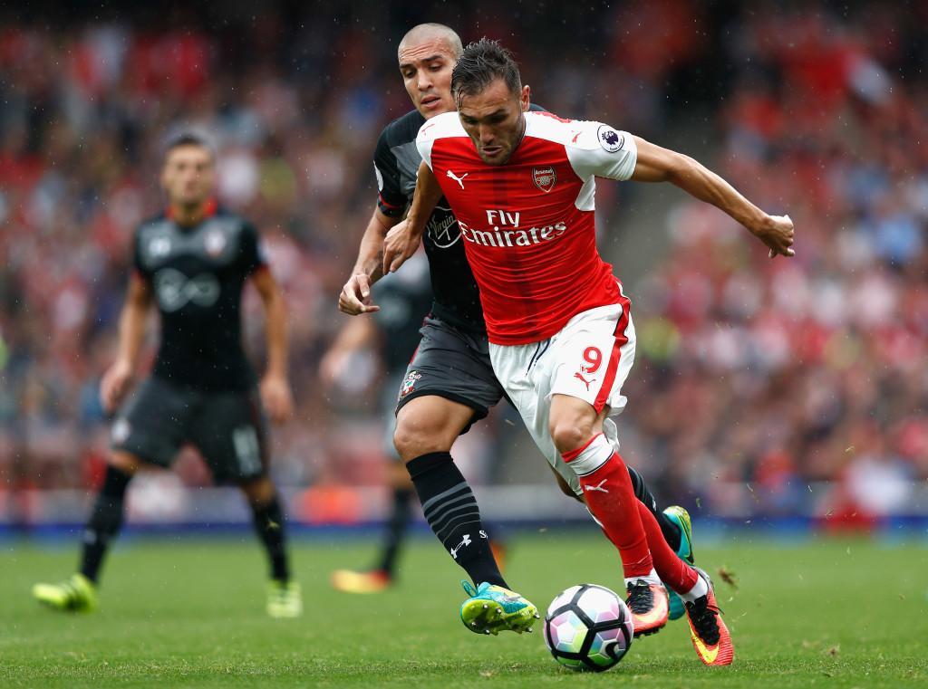 LONDON, ENGLAND - SEPTEMBER 10: Lucas Perez of Arsenal in action during the Premier League match between Arsenal and Southampton at Emirates Stadium on September 10, 2016 in London, England. (Photo by Clive Rose/Getty Images)