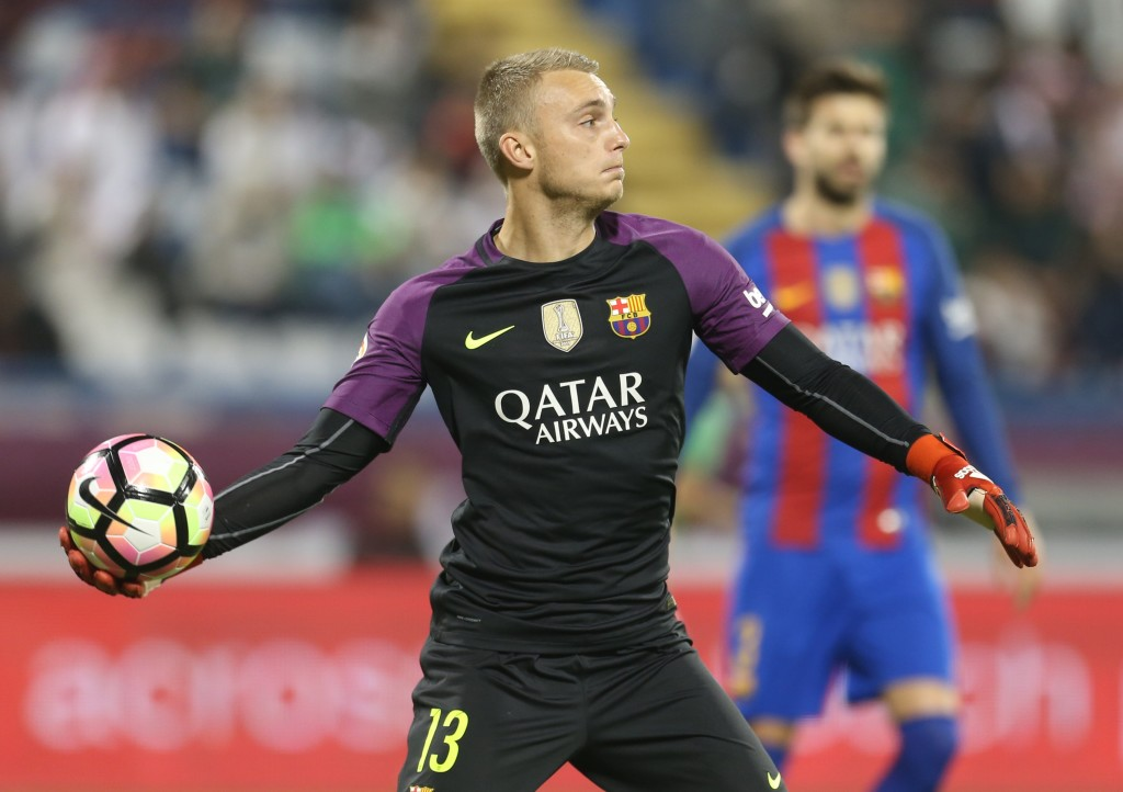 DOHA, QATAR - DECEMBER 13: Goal keeper Jasper Cillessen of Barcelona in action during the Qatar Airways Cup match between FC Barcelona and Al-Ahli Saudi FC on December 13, 2016 in Doha, Qatar. (Photo by AK BijuRaj/Getty Images)