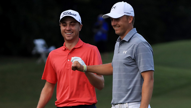 Thomas (l) with Spieth (r).