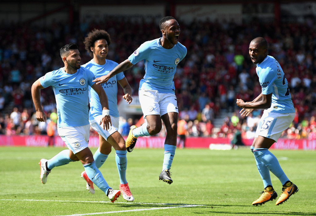 Raheem Sterling celebrates his late, late winner against Bournemouth.