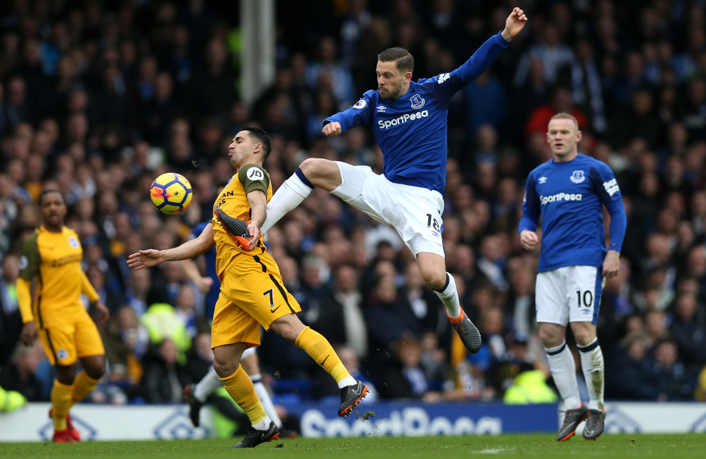 Gylfi Sigurdsson was injured playing for Everton against Brighton in March.