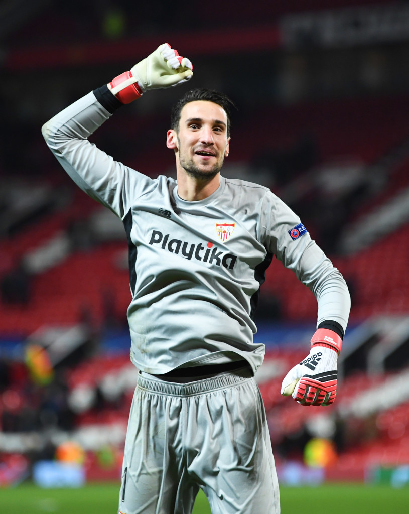 MANCHESTER, ENGLAND - MARCH 13: Sergio Rico of Sevilla celebrates victory after the UEFA Champions League Round of 16 Second Leg match between Manchester United and Sevilla FC at Old Trafford on March 13, 2018 in Manchester, United Kingdom. (Photo by Michael Regan/Getty Images)