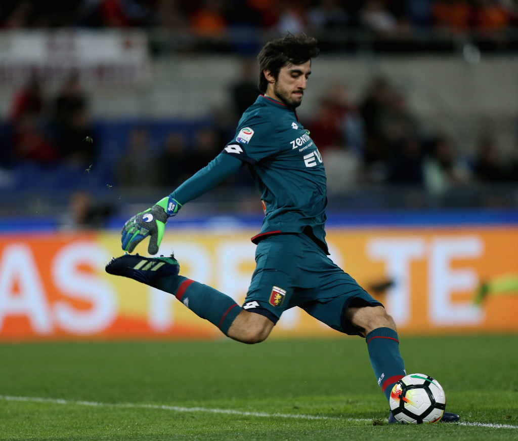 ROME, ITALY - APRIL 18: Mattia Perin of Genoa CFC kicks the ball during the serie A match between AS Roma and Genoa CFC at Stadio Olimpico on April 18, 2018 in Rome, Italy. (Photo by Paolo Bruno/Getty Images)