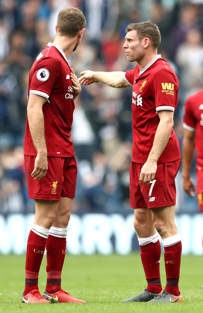 WEST BROMWICH, ENGLAND - APRIL 21: James Milner of Liverpool talks with Jordan Henderson of Liverpool after the Premier League match between West Bromwich Albion and Liverpool at The Hawthorns on April 21, 2018 in West Bromwich, England. (Photo by Matthew Lewis/Getty Images)