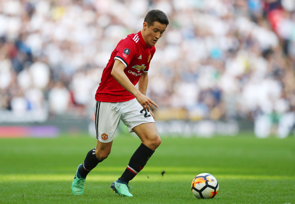 LONDON, ENGLAND - APRIL 21: Ander Herrera of Manchester United during The Emirates FA Cup Semi Final between Manchester United and Tottenham Hotspur at Wembley Stadium on April 21, 2018 in London, England. (Photo by Catherine Ivill/Getty Images)