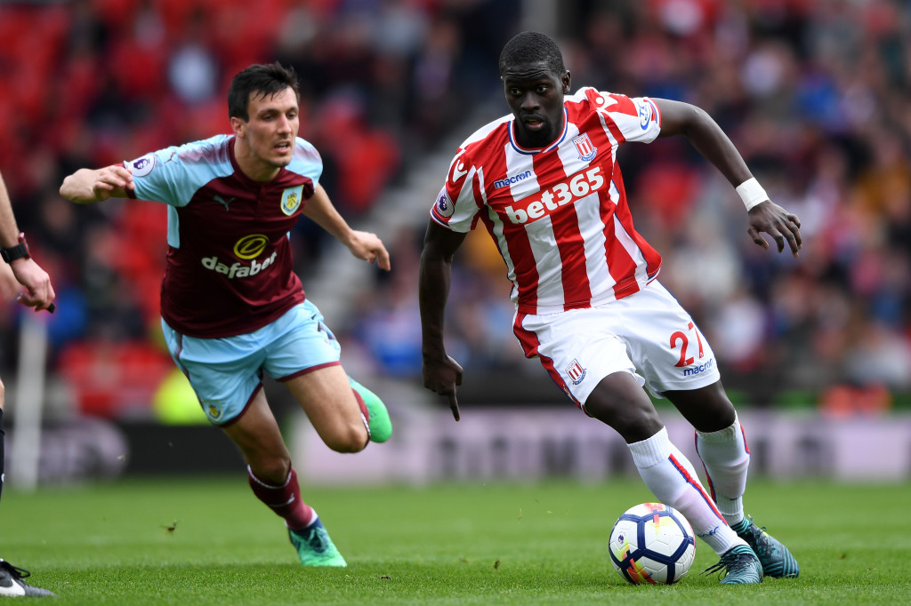 STOKE ON TRENT, ENGLAND - APRIL 22: Badou Ndiaye of Stoke City and during the Premier League match between Stoke City and Burnley at Bet365 Stadium on April 22, 2018 in Stoke on Trent, England. (Photo by Gareth Copley/Getty Images)