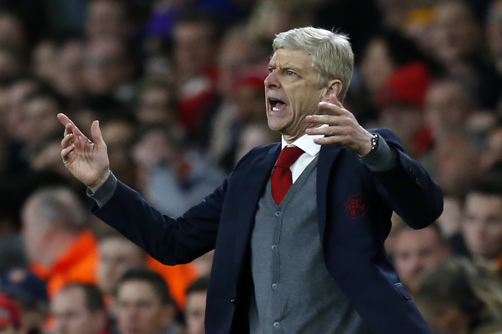 Arsenal's French manager Arsene Wenger gestures on the touchline during the UEFA Europa League first leg semi-final football match between Arsenal and Atletico Madrid at the Emirates Stadium in London on April 26, 2018. (Photo by Ian KINGTON / IKIMAGES / AFP) (Photo credit should read IAN KINGTON/AFP/Getty Images)