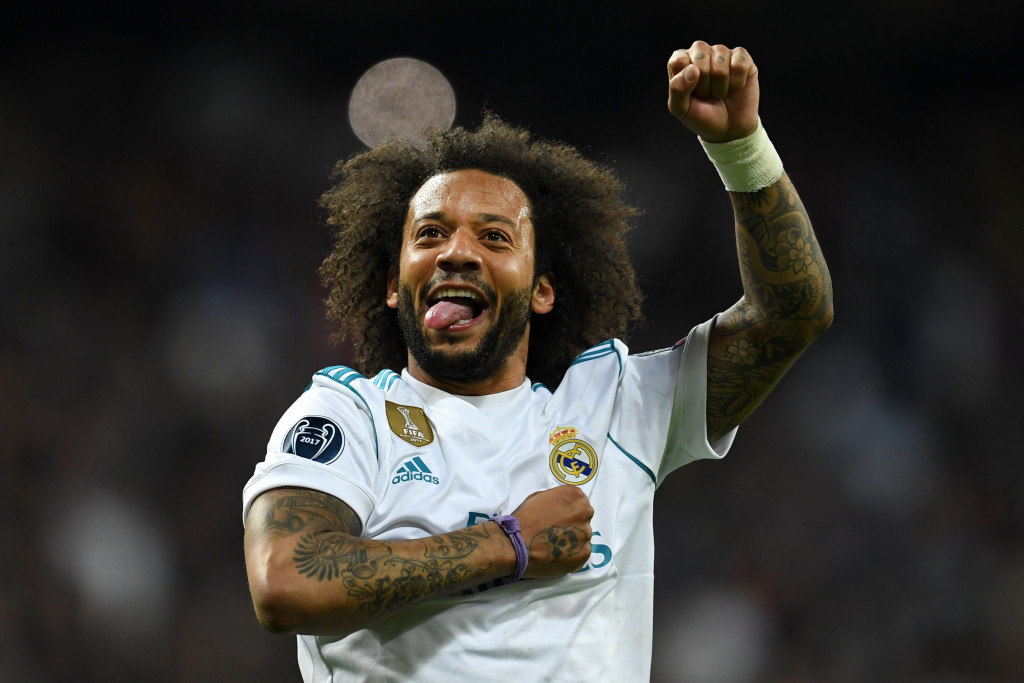 Marcelo celebrates Real Madrid's progression to the final