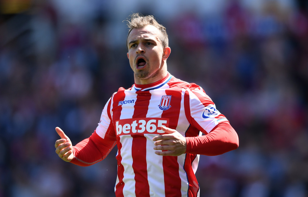 STOKE ON TRENT, ENGLAND - MAY 05: Xherdan Shaqiri of Stoke City celebrates after scoring his sides first goal during the Premier League match between Stoke City and Crystal Palace at Bet365 Stadium on May 5, 2018 in Stoke on Trent, England. (Photo by Gareth Copley/Getty Images)