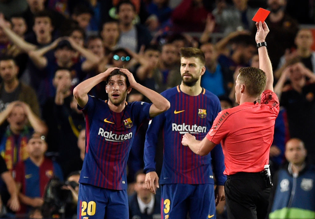 Sergi Roberto's red card changed the complexion of the game.