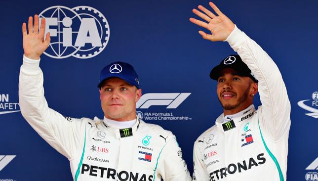 On pole: Lewis Hamilton (right)